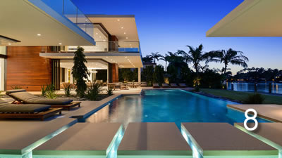 Miami Beach Floating Coping Pool with Vanishing Edge